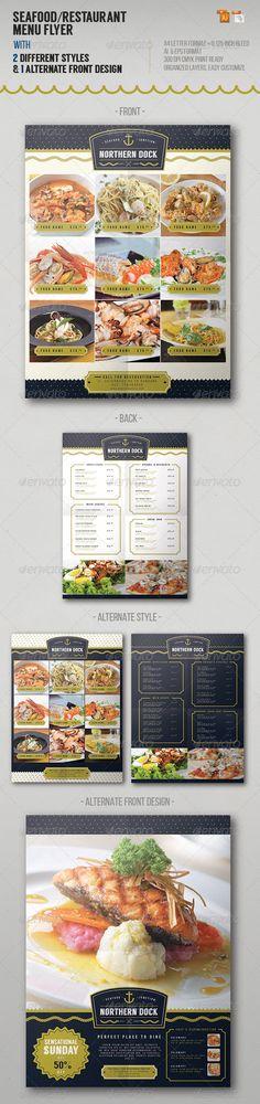 Seafood Restaurant Menu Flyer http://graphicriver.net/item/seafood-restaurant-menu-flyer/8013209?ref=damiamio