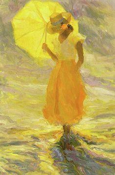 color of the week: late summer yellow: Huile de Diane Leonard, artiste américaine. Art Jaune, Image Zen, Umbrella Art, Yellow Umbrella, Illustration Art, Illustrations, Shades Of Yellow, Happy Colors, Mellow Yellow