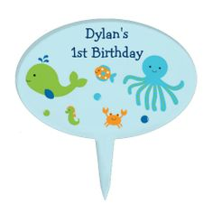 Under the Sea Cake Topper Sea Cakes, Personalized Cake Toppers, Under The Sea, Cupcake Toppers, Birthday, Birthdays, Dirt Bike Birthday, Birth Day