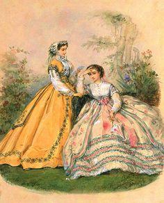 Victorian Era Dresses, Victorian Costume, Victorian Fashion, Vintage Fashion, Victorian Ladies, Vintage Ladies, Civil War Fashion, Victorian Paintings, My Fantasy World