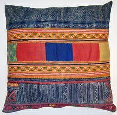 VTG4  Handwoven embroidered & patchworked Hmong pillow cover