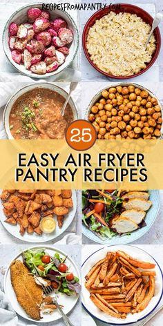 With these 25 Air Fryer Pantry Recipes, it's easy to make affordable & delicious dishes at home with ingredients in your store cupboard! The air fryer makes it easy to cook up healthier versions of all your fried food favorites and can also transform inexpensive everyday pantry ingredients into tasty mains, sides, snacks, desserts, easy meals & budget meals. Click through to get the awesome air fryer pantry meals!! #airfryer #airfryerrecipes #airfryerpantryrecipes #pantry #staples… Air Fryer Recipes Vegan, Air Fryer Dinner Recipes, Air Fryer Healthy, Appetizer Recipes, Appetizers, Best Lunch Recipes, Side Recipes, Breakfast Recipes, Healthy Recipes