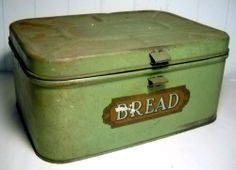 """VINTAGE PRIMITIVE GREEN TIN 13"""" BREAD BOX WITH GOLD LETTERING AND HINGED LID #NaivePrimitive"""