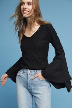 Anthropologie V-Neck Bell-Sleeve Top https://www.anthropologie.com/shop/v-neck-bell-sleeve-top?cm_mmc=userselection-_-product-_-share-_-4112436999090