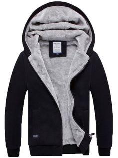 Men's Boys Classic Cotton Blend Faxu fur lined Warm Winter Sweats Hoodies Coats