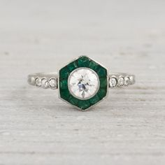 .50 Carat Vintage Diamond and Emerald Engagement Ring | New York Vintage & Antique Engagement Rings and Jewelry – Erstwhile Jewelry Co NY