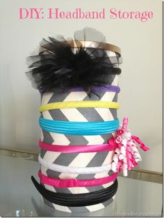 DIY Headband Storage - made out of an oatmeal container