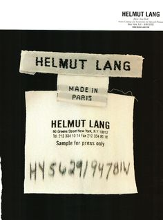 This Helmut Lang Ad