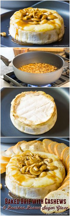Easy Holiday Appetizer - Baked Brie with Cashews and Bourbon Brown Sugar Glaze Recipe on ASpicyPerspective.com. #holidays #christmas
