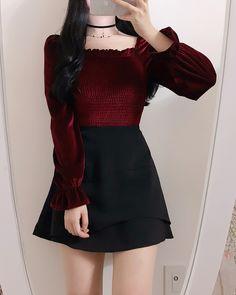 Unni Velvet Smoke Blouse December 06 2019 at fashion-inspo Korean Fashion Dress, Kpop Fashion Outfits, Korean Street Fashion, Ulzzang Fashion, Cute Casual Outfits, Harajuku Fashion, Girly Outfits, Korean Outfits, Cute Fashion