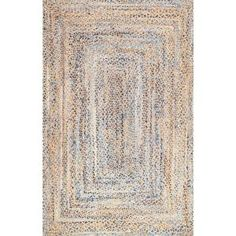 x 8 ft. Area Rug # Braids with weave how to nuLOOM Eliz Striped Farmhouse Jute Blue 5 ft. x 8 ft. Area - The Home Depot Affordable Rugs, Square Rugs, Braids With Weave, Braided Rugs, Area Rug Sizes, Jute Rug, Cow Hide Rug, Blue Area, Round Rugs
