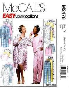 McCall's Sewing Pattern 2476 M2746 Misses Size 8-18 Easy Nightgown Pajama Pants Tops Robes   McCall's+Sewing+Pattern+2476+M2746+Misses+Size+8-18+Easy+Nightgown+Pajama+Pants+Tops+Robes