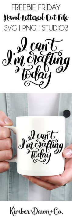 Hand Lettered I Can't I'm Crafting Today Free SVG Cut File Hand Lettered I Can't I'm Crafting Today Free SVG Cut File I can't. I'm crafting today. Totally a legit excuse for pretty much anything, if Shilouette Cameo, M Craft, Papel Scrapbook, Cricut Fonts, Free Svg Cut Files, Cricut Svg Files Free, Letter I, Silhouette Cameo Projects, Cricut Creations