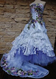 CUSTOM ORDER Exclusive Handmade Wedding Dress White Dangling Roses Purple Tulle Embroidered Appliques