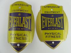 VINTAGE EVERLAST PHYSICAL FITNESS GYM EQUIPMENT BICYCLE HEAD BADGES
