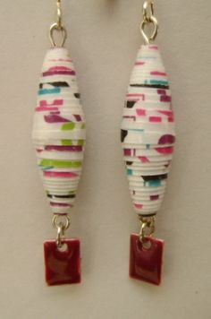 white multicolor dangle paper bead earrings with by Laurindalees, $15.00