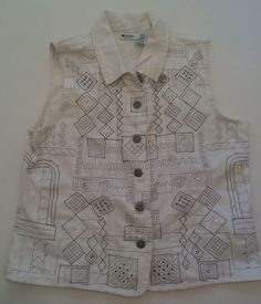 Units Petite L 100% Cotton White Sleeveless Top Silver Metallic Sequins #Units #ButtonDownShirt #Casual