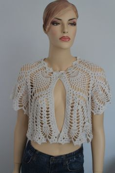 Crochet Off White Bridal Shrug Bolero / Fall by levintovich