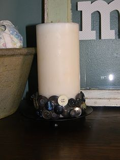 Upcycled button candle- so easy!