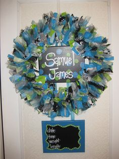 hospital door wreath - with our baby name & info on it!