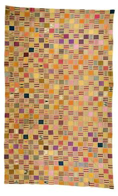 Africa | 'Kente' from the Ewe people of Ghana | 1st half of the 20th century | Cotton; woven in twenty-two strips, with multi-coloured abstract designs