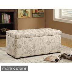 Ave Six Sahara Tufted Storage Bench with Easy-care Fabric & Slam Proof Lid