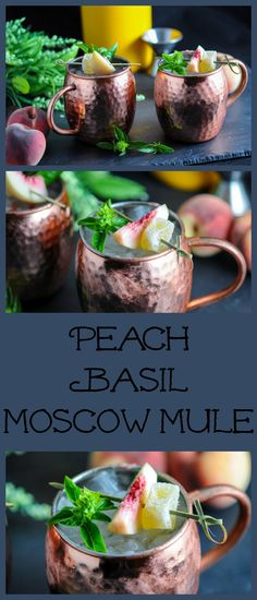 Perfect for fall, this Peach Basil Moscow Mule is a combo of fresh peaches, basil simple syrup, lime juice, vodka and ginger beer! Recipe, cocktail, drink, classic, copper mugs