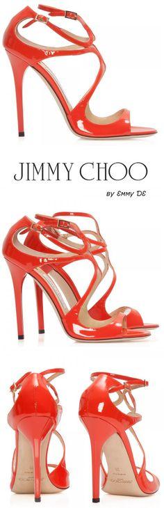 Emmy DE * Jimmy Choo 'Lang' orange patent leather sandals