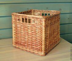Купить Короб для хранения - бежевый, короб для хранения, короб, плетеная корзина, плетеный короб
