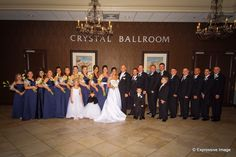 The entire wedding party posed outside the Crystal Ballroom.www.CrystalBallroomNJ.com. Photo courtesy of Expressive Image Photography. #wedding #reception #marriage #nj #venue #banquethall #bride #groom #freehold #newjersey #CrystalBallroomNJ #CrystalBallroom
