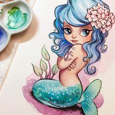 Closeup of mini painting. Mermaid Fairy, Cute Mermaid, Mermaid Drawings, Mermaid Tattoos, Unicorns And Mermaids, Mermaids And Mermen, Mini Paintings, Watercolor Paintings, Tattoos Mandala