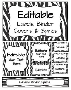 Editable Labels Binder Covers Spines