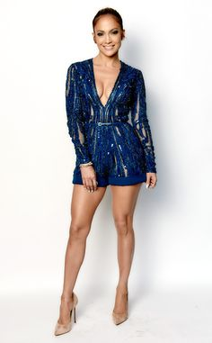 Romping Around from Jennifer Lopez's American Idol Looks  She sizzles in aroyal blue Elie Saab romper.