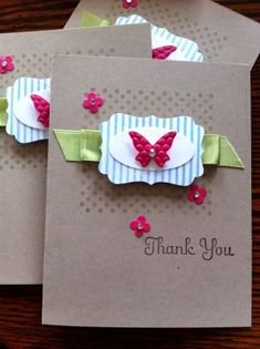 Summer Thank You Card - note: I have this SU label punch & the polka dot background stamp (non-SU).