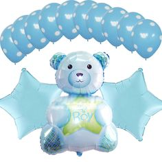 "1set Baby Shower Supplies Blue Star Decoration 32""Foil Balloons Mylar Teddy Bear #Anagram #BabyShower"