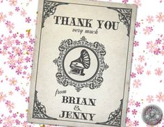 Steampunk Gramophone record player themed wedding Thank you cards - retro sign, steampunk and vintage inspired