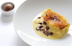 Paul Ainsworth's bread and butter pudding recipe is unique in that it serves the classically British dessert with a quenelle of chocolate sorbet
