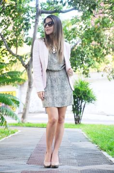 snake dress and pink blazer