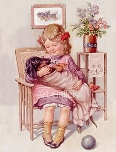 Dachshund Wrapped Like Baby with Pacifier Young Girl Vintage Postcard Art Print Magnet