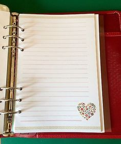 Filofax-A5-Organiser-Planner-Beautiful-Flower-Heart-Writing-Paper-30-Sheets