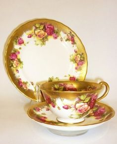 English Vintage Fine Bone China Tea Set Tea Cup Trio Floral Gold | eBay