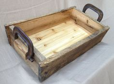 Rustic Wood Tray Box with rusty clamp handles