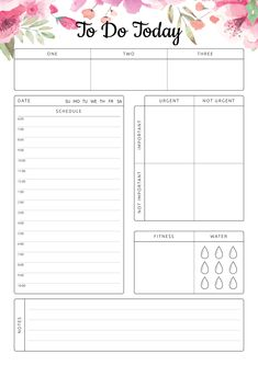 To Do Today Daily Hourly Planner Template with a big section for making a list of activities and prioritize them. Sections available in this template: Task priorities : One Two Three Hourly schedule Importance & Urgency Fitness Water tracker Notes