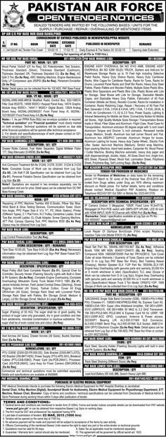 PAF Open Tender Notices
