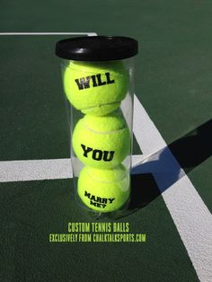 How adorable is this tennis proposal? Made with our custom tennis balls. What a great proposal idea!