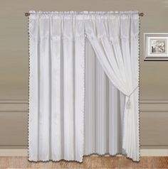 GorgeousHomeLinen 8 PC Nada Luxury Faux Jacquard Floral Design Panel, Rod Pocket Window Curtain Set Attached Valance, Panel, And Sheer- 2 Tie Backs Included (63' Length, White) >>> For more information, visit image link. (This is an affiliate link and I receive a commission for the sales)