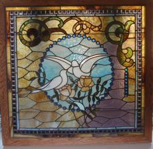 Over 100 jewels surround this stained glass window featuring pair of white doves, Shop Rubylane.com
