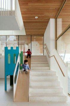 Daycare centre, Brussels by ZAmpone Architectuur - Home Design Kindergarten Architecture, Kindergarten Interior, Kindergarten Design, Daycare Design, Kids Daycare, School Design, Home Design, Design Ideas, Stair Slide
