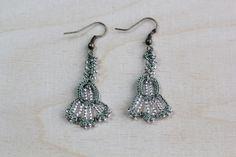 flower earrings crocheted with beads, light green