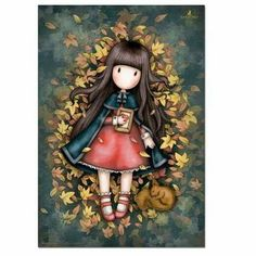 Gorjuss Autumn Leaves Greeting Card A beautiful art card featuring a lovely Gorjuss Girl, this card is perfect for all occasions. Decoupage, Santoro London, Atc Cards, Holly Hobbie, Stencil Painting, Copics, Happy Planner, Cute Cartoon, Rock Art